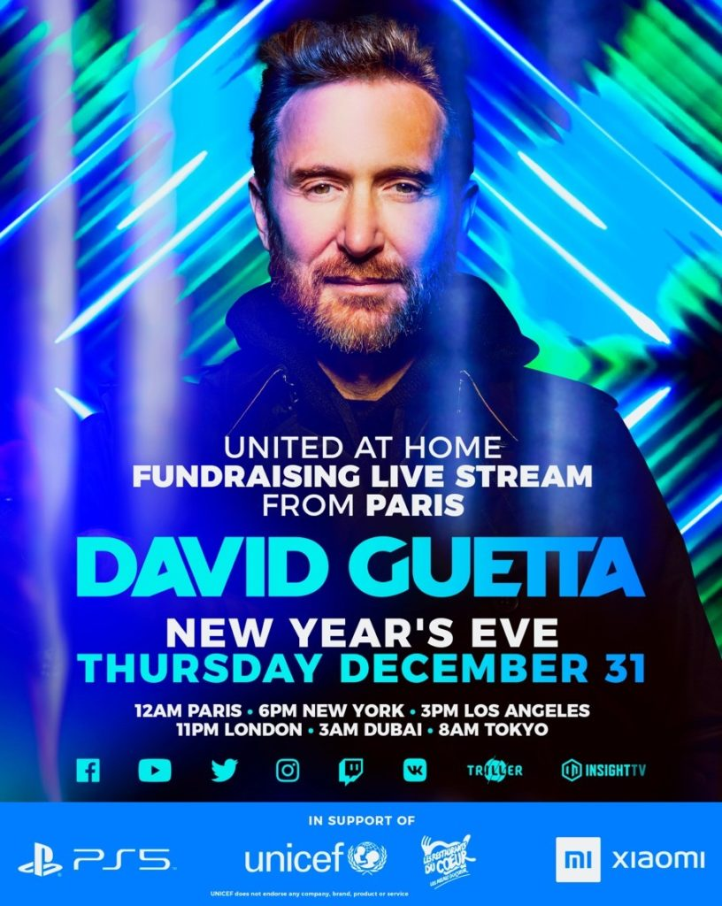 """David Guetta Announces Third Charity Livestream """"United At Home"""" On New  Year's Eve! 